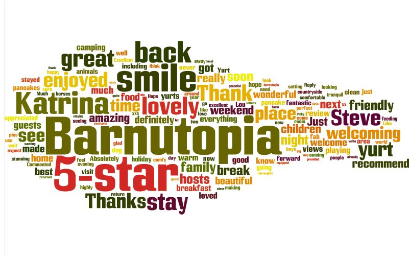 Word cloud created from words used in Barnutopia reviews.