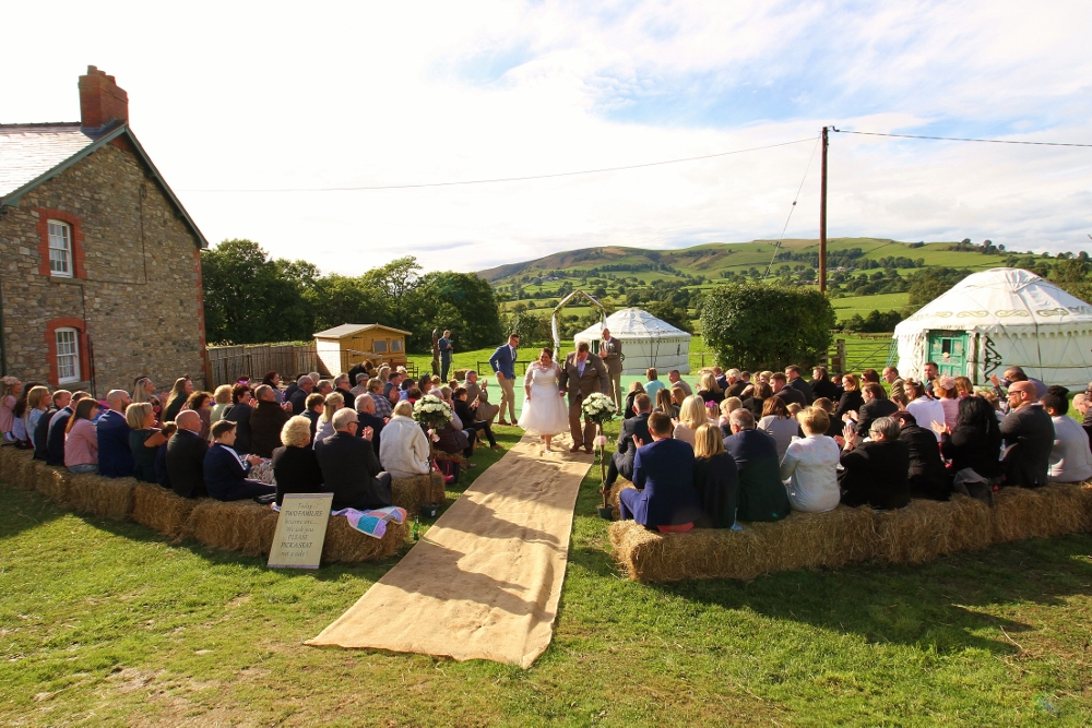 Getting married on the yurt field.