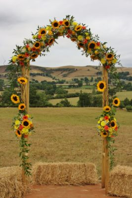 Sunflower wedding arch at Barnutopia