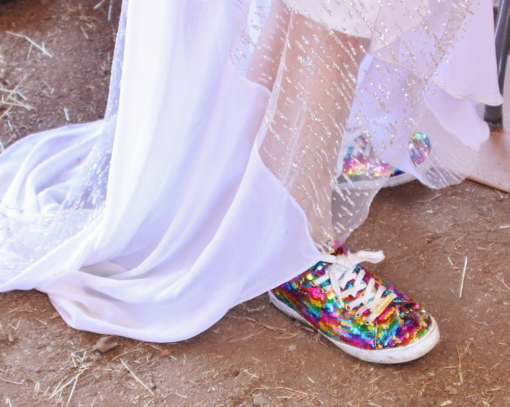Blinged up shoes for a quirky wedding