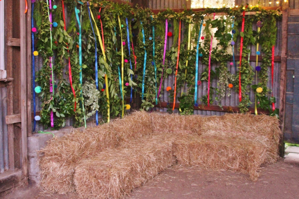Foliage wall in the Dutch barn at Barnutopia