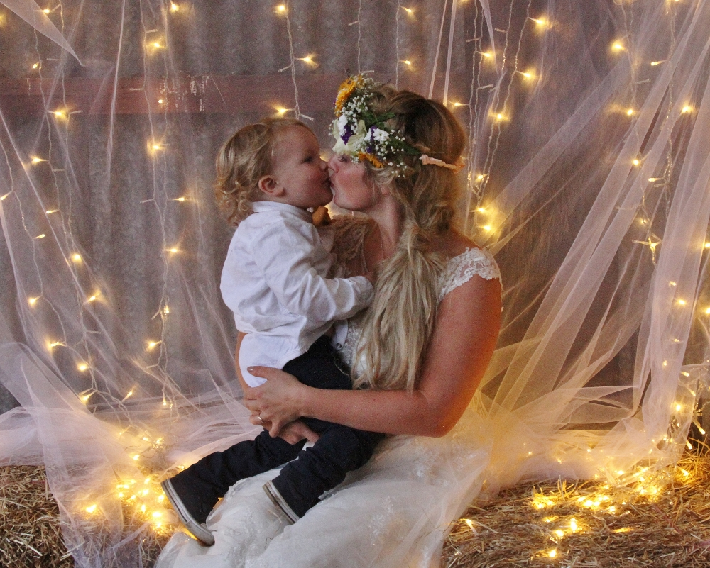 Fairy lights and voile backdrop
