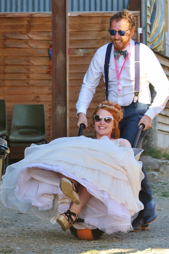 Unusual transport at a quirky wedding