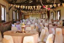 Barn wedding decorations blush pink