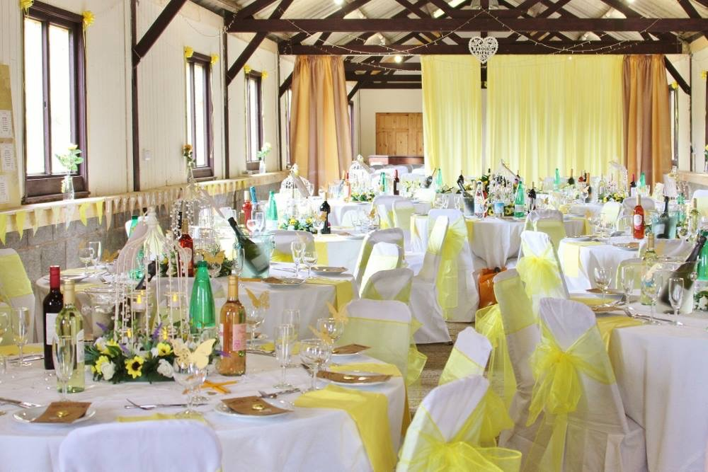 Lemon yellow and sunflowers barn decorations