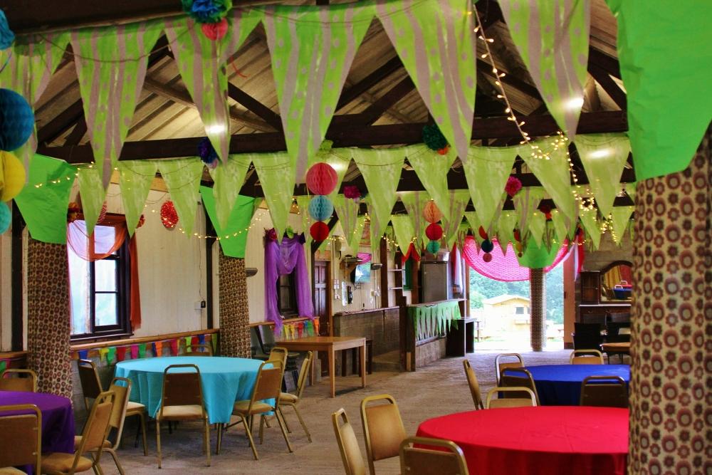 Jungle themed barn wedding decorations