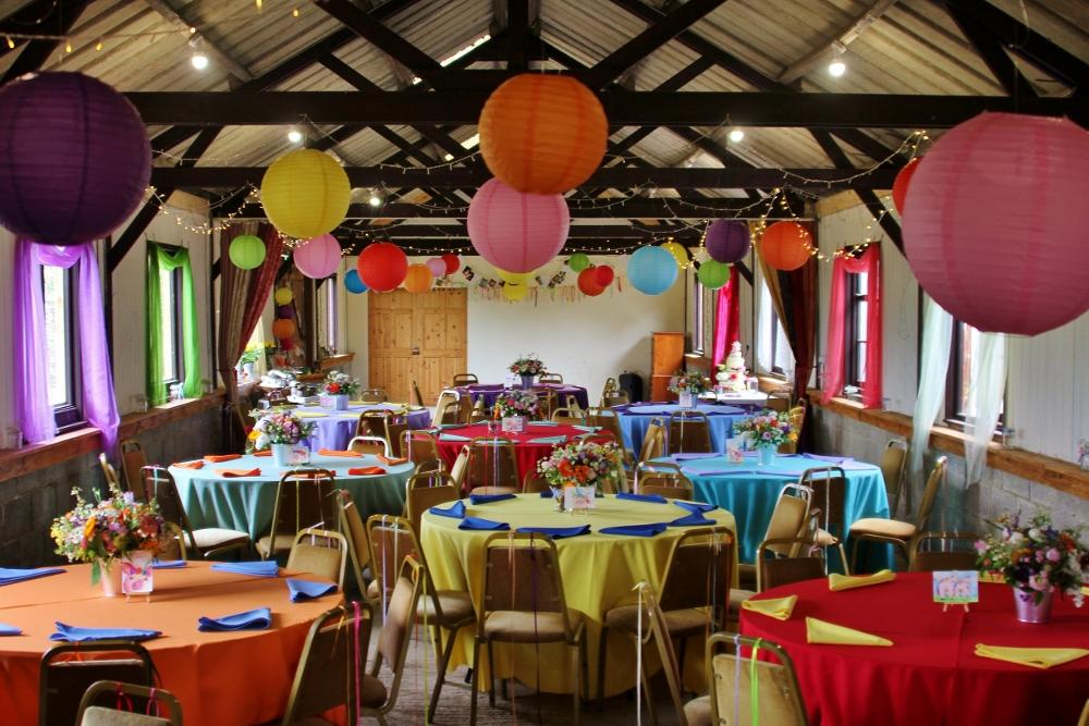 Festival themed wedding at Barnutopia