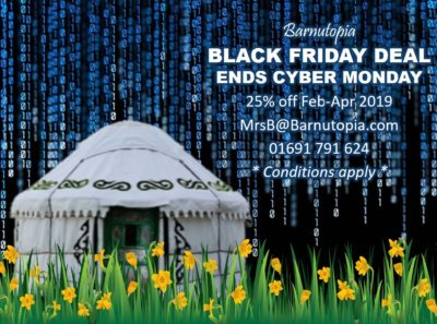 Black Friday deal glamping or venue hire at Barnutopia