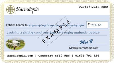 Buy a gift glamping at Barnutopia