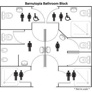 Plan of bathroom block.