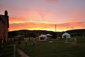 Yurts in the sunset