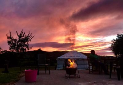 Sunset behind yurt Bronwyn