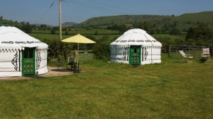 Luxury yurts in the rolling green Shropshire and Powys hills.