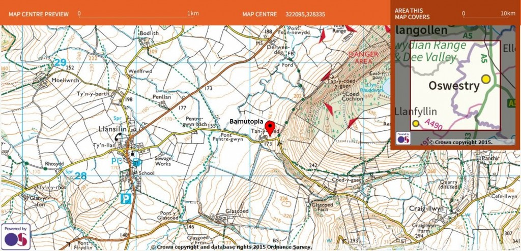 Ordnance Survey map showing Barnutopia and surrounding area.