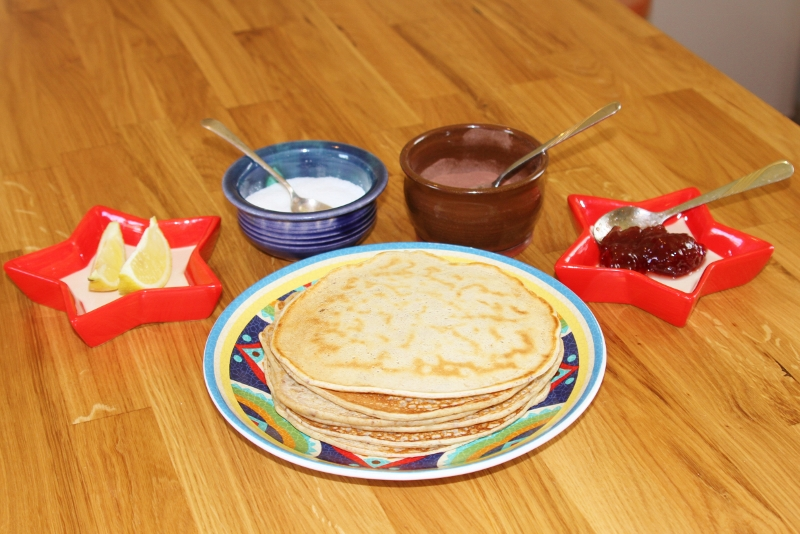 Pancake breakfast with some toppings.