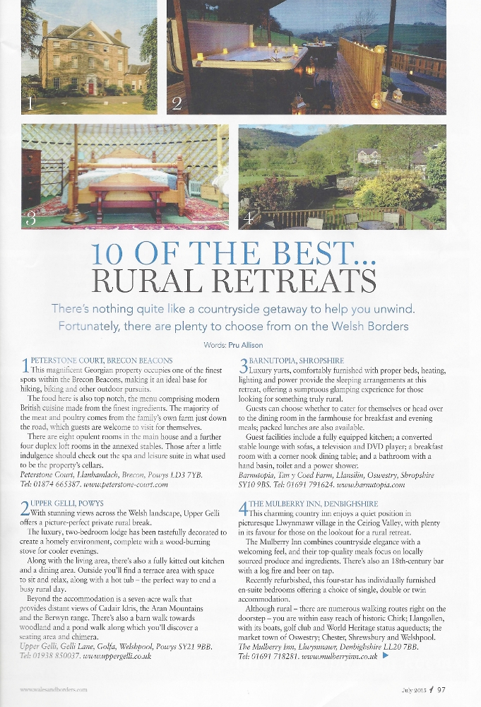"WelshBorderLife article ""10 of the Best Rural Retreats""."