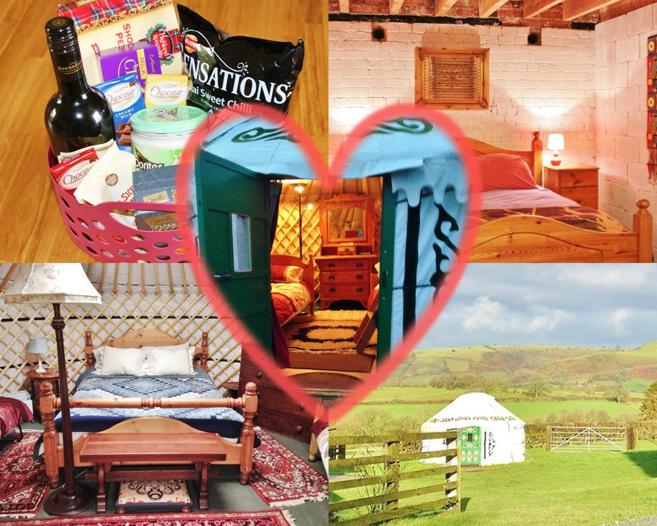 Valentine's Day glamping break in a yurt, stable or tent