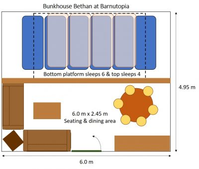 Plan drawing of bunkhouse Bethan