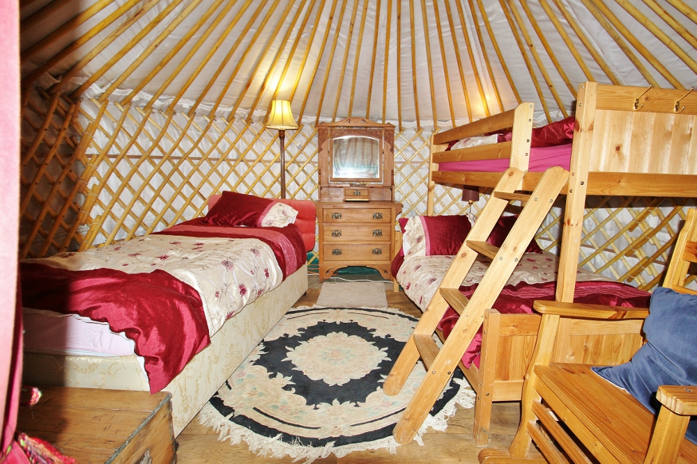 Yurt Nanny Iris fully furnished with power, light, heating and free Wi-Fi.