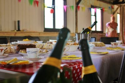 Prosecco in the long barn