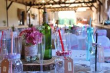 Pink and hessian barn wedding decorations.