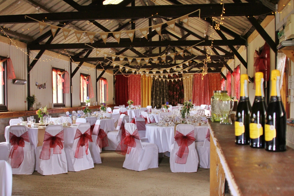 Burgundy and white barn decorations