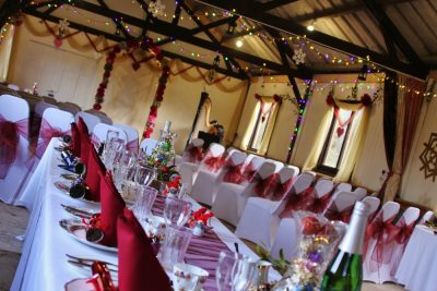 winter wedding barn dressed for reception