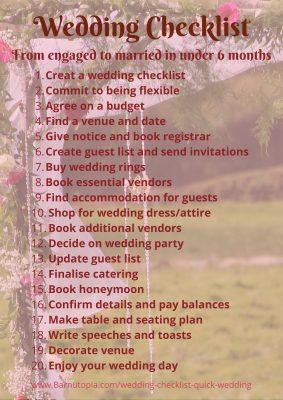 Quick wedding checklist ~ Barnutopia