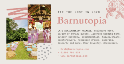 2020 Late availability wedding package at Barnutopia