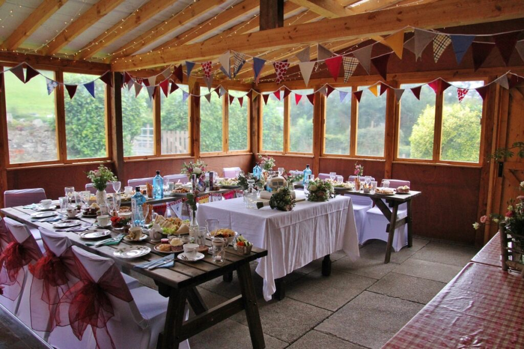Garden room ready for a micro wedding reception